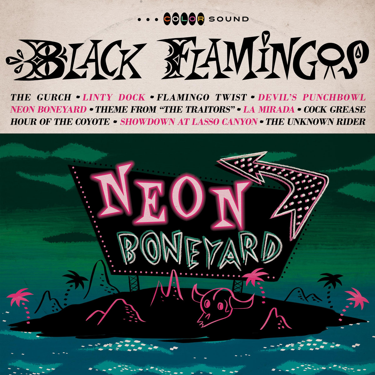 neon boneyard | black flamingos