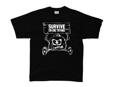 SURVIVE OR DIE TRYING BLACK TEE SHIRT/WHITE LOGO main photo