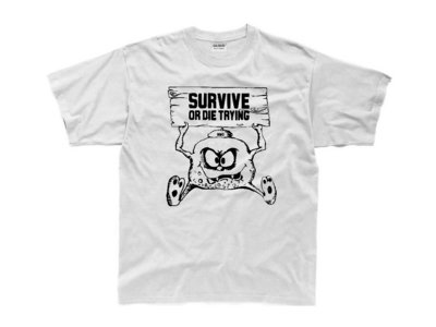 SURVIVE OR DIE TRYING WHITE TEE SHIRT/BLACK LOGO main photo
