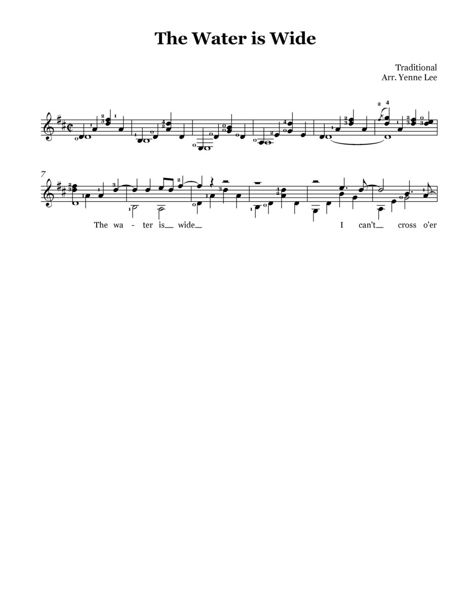 Sheet music] The Water Is Wide - guitar solo - Yenne Lee version
