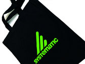 """Systematic"" Black Cotton Tote Bag, Neon-Green Print photo"