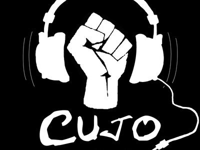 Black T-Shirt with White Fist and Headphones Cujo Logo main photo