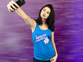 Cyan Blue Ladies Anime Racer Back Tank Top-Designed by Chad Fidler photo