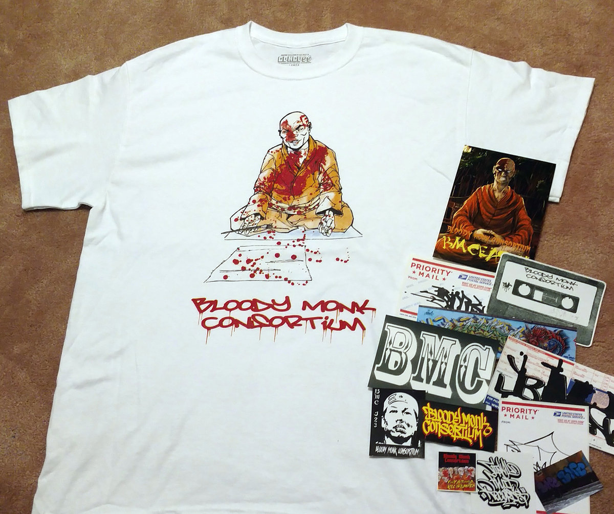 Blood Letter T Shirt W Sticker Pack 5x7 Print Bloody Monk