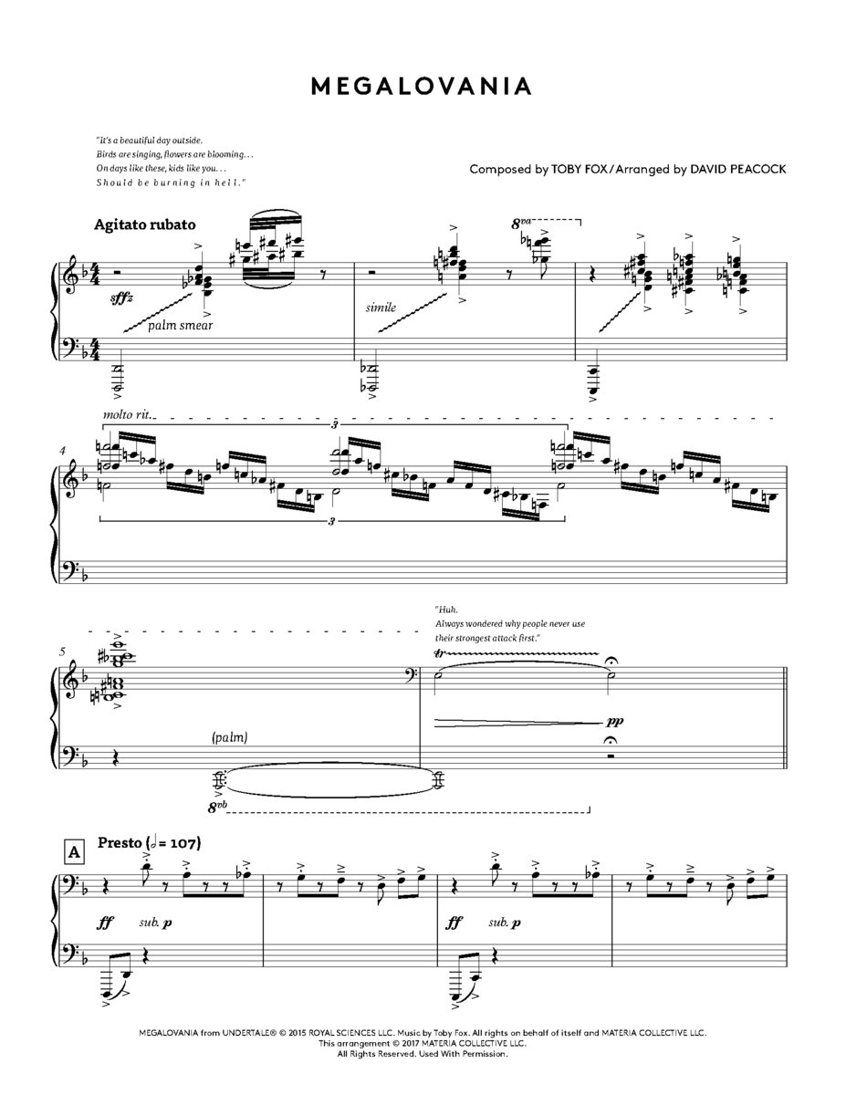 UNDERTALE Piano Collections: PHYSICAL Sheet Music | Materia