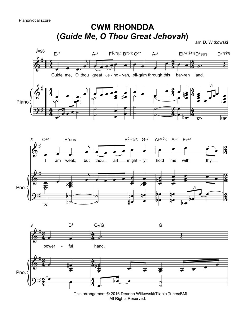 Cwm Rhondda Guide Me O Thou Great Jehovah Lead Sheet And Piano