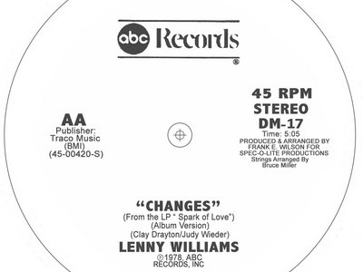 "Lenny Williams - Changes 12"" Vinyl Release. main photo"