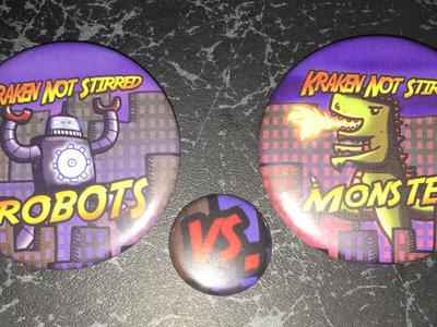 """Robots vs Monsters"" 3-pin set main photo"