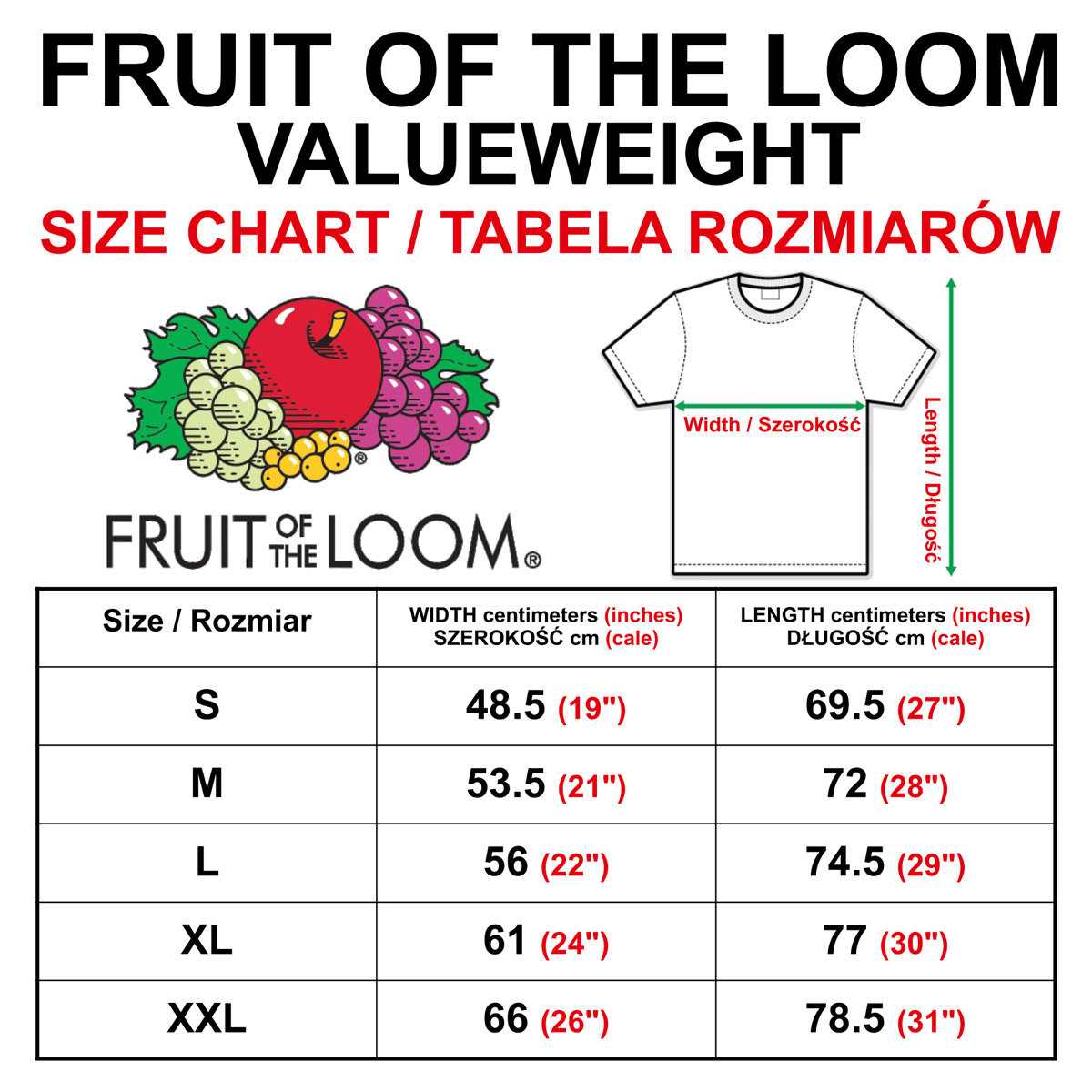 Bildergebnis für fruit of the Loom valueweight size chart