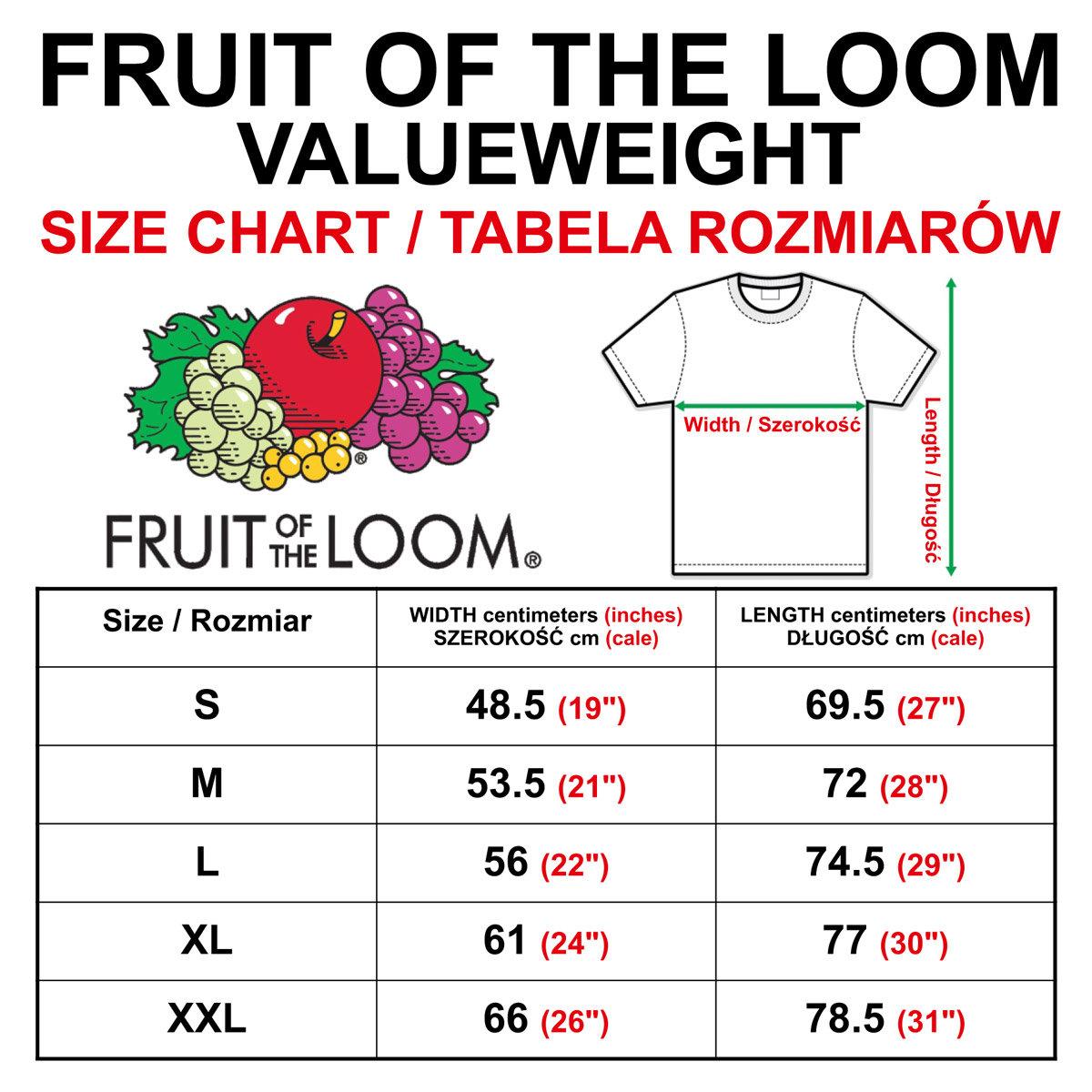 Bildergebnis für fruit of the Loom valueweight size chart