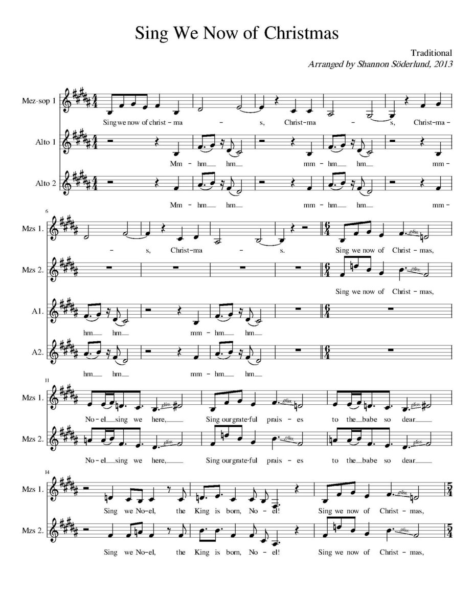 Sing We Now Of Christmas.Sing We Now Of Christmas Sheet Music Electronic Download