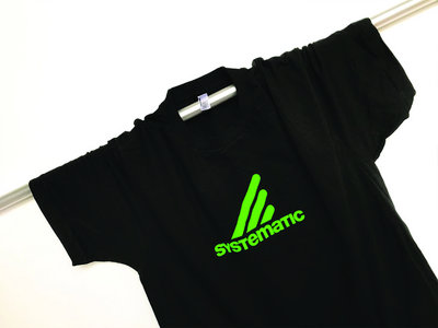 "Black ""Systematic"" Cotton Tee, Neon-Green Print main photo"