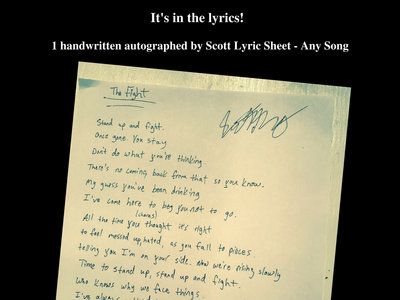 Autographed Lyric Sheet - Any Song main photo