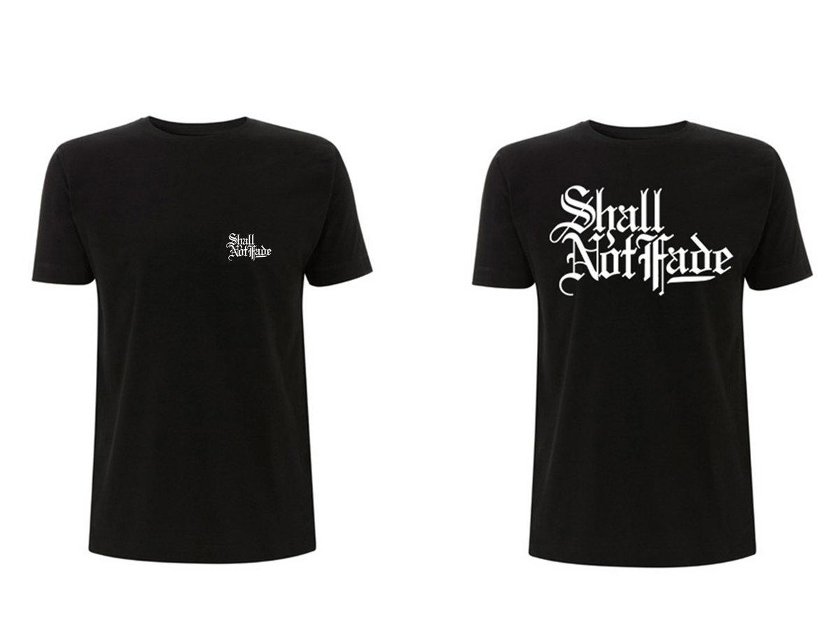 shall not fade short sleeve t shirt back front print black