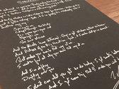 Handmade Lyric Print (Full Song) photo