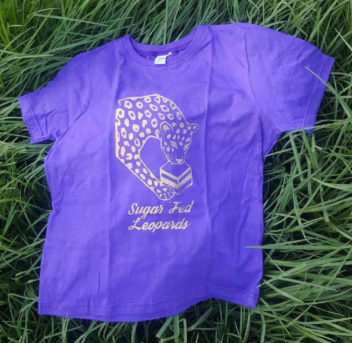 Gold Print On Purple T Shirt Sugar Fed Leopards
