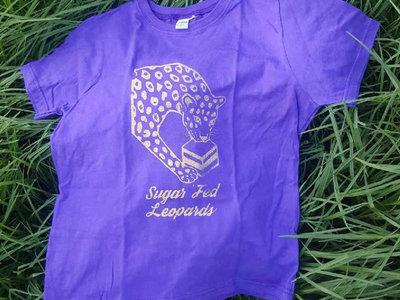 Gold print on purple t-shirt main photo
