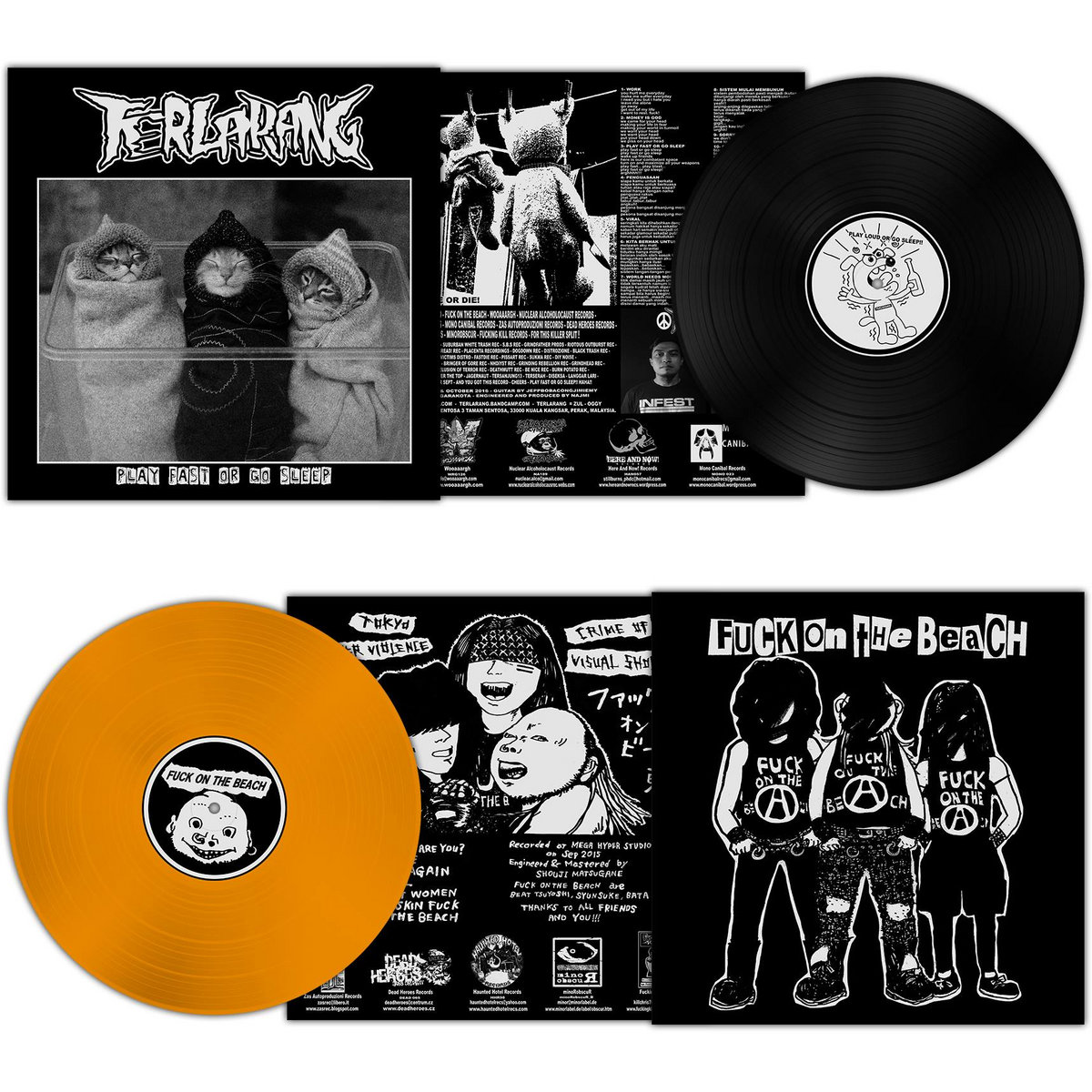 "fuck on the beach / terlarang - split 12"" lp 