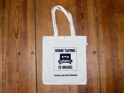 HOME TAPING IS MUSIC 100% organic cotton screen printed bag main photo