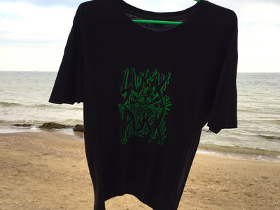 Black XL t-shirt with screen printed GREEN suck puck logo main photo