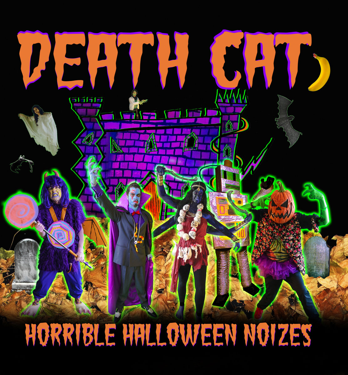 a mixture of spooky sounds noisy songs taking you from an alley way car crash through a storm in a graveyard into castle cat