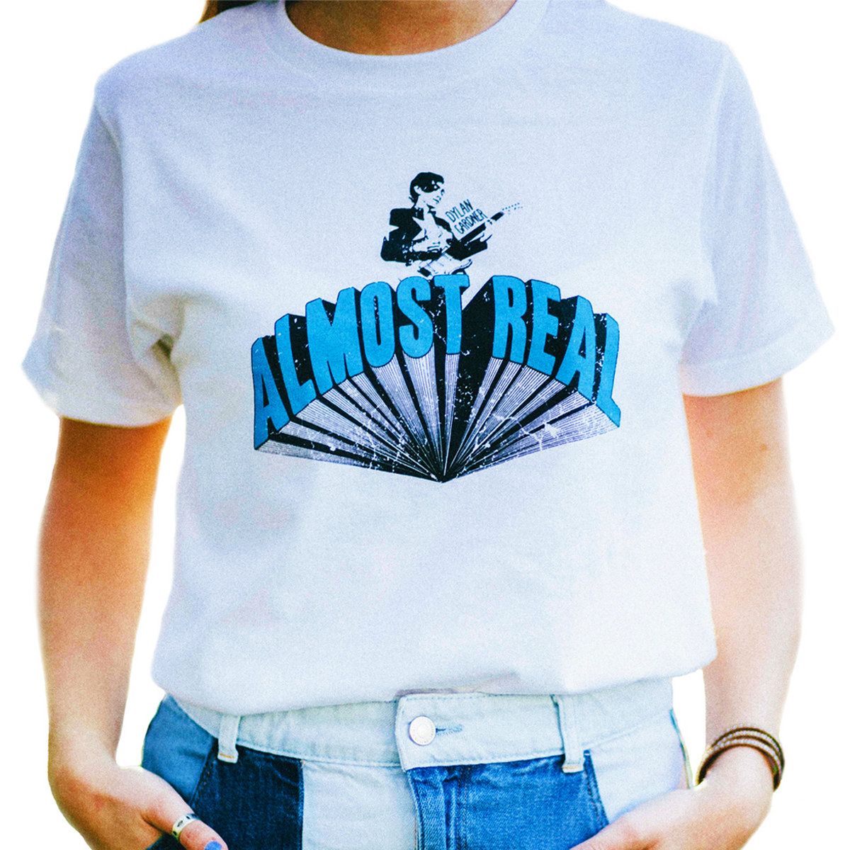 Almost real unisex white t shirt dylan gardner for Optima cotton wear t shirts
