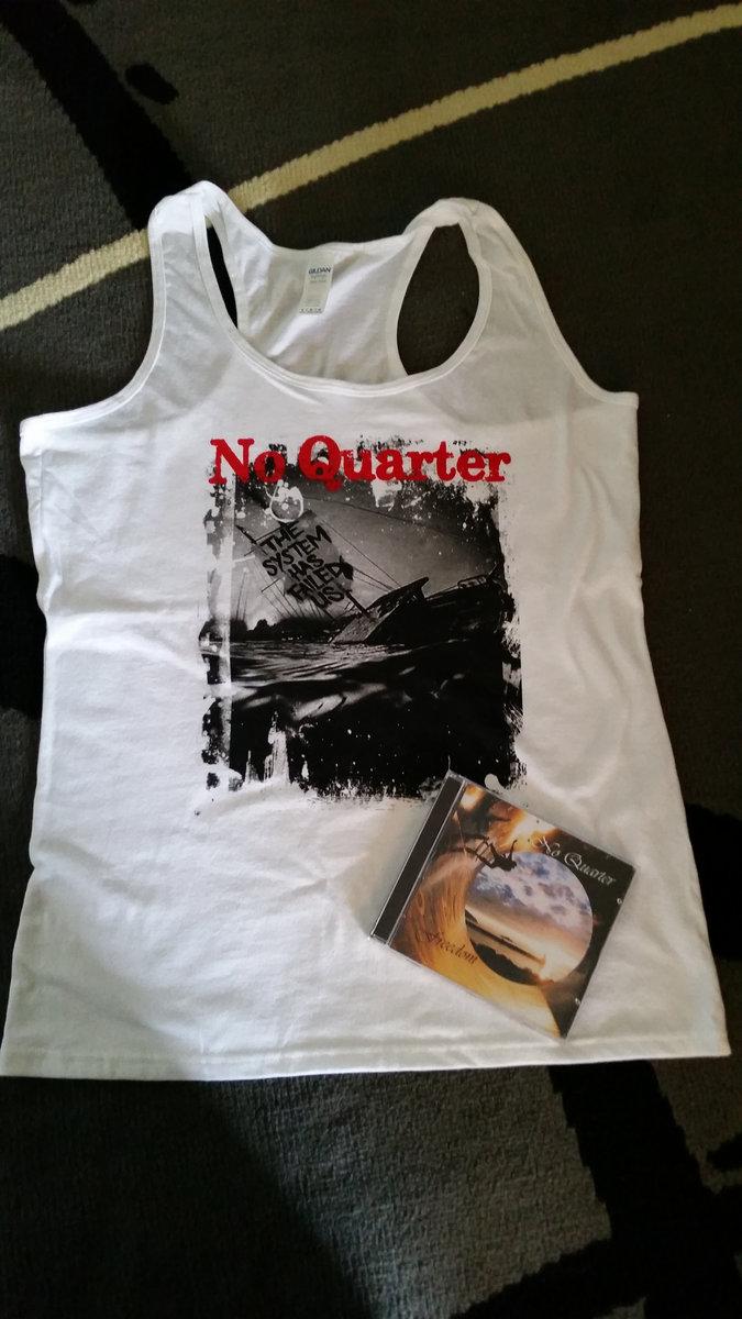 White Ladies Race Back Tank Shirt Sinking Ship Design Cd Copy Of