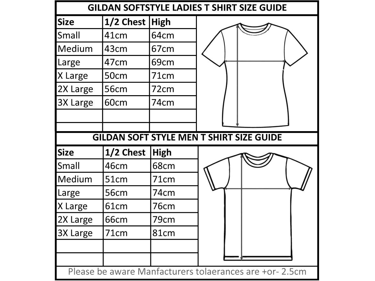 Gildan T Shirt Size Chart Unisex Toffee Art
