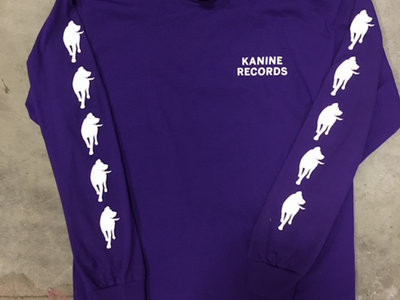 kanine records long sleeve purple t shirt with white lettering and logo down the side