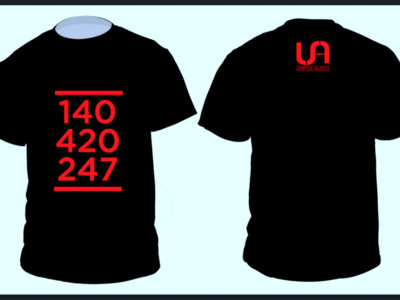 140-420-247 T Shirt in Black with red speckled text. main photo