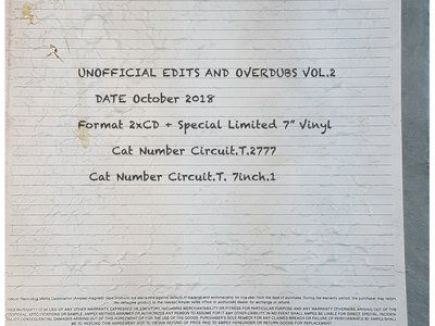 The Unofficial Edits & Overdubs: Special Advanced Edition Vol.2 - CD Release. main photo