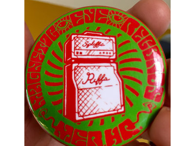 """Spliffs and Riffs"" 2.25"" Magnetic Eye Records Button. main photo"