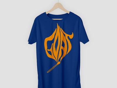 Goat 'Let It Burn' Blue T-Shirt with Orange Print main photo