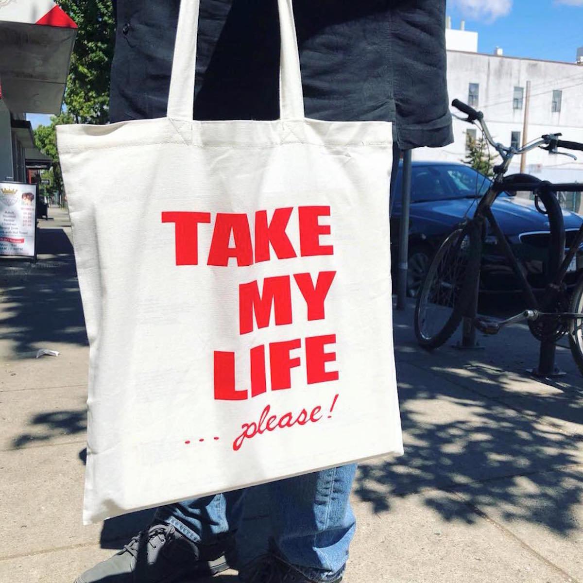 Tim The Mute - Take My Life... Please! Tote Bag main photo b87b80aa11ac4