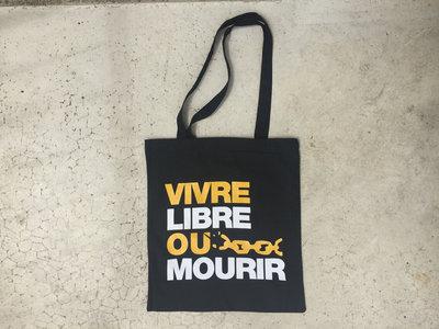 "Tote bag noir ""Vivre Libre ou Mourir"" main photo"