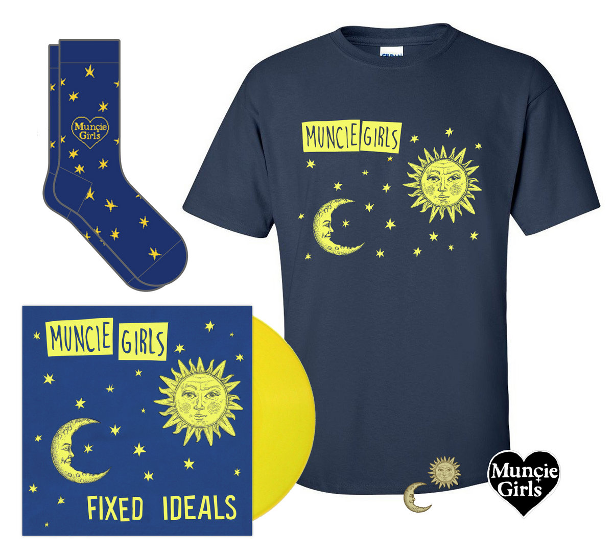 Muncie Girls New Album Fixed Ideals On LP Plus A Shirt Embroidered Patch Two Enamel Badges And Lyric Zine Yellow Vinyl Now Out Of Stock Splatter Will