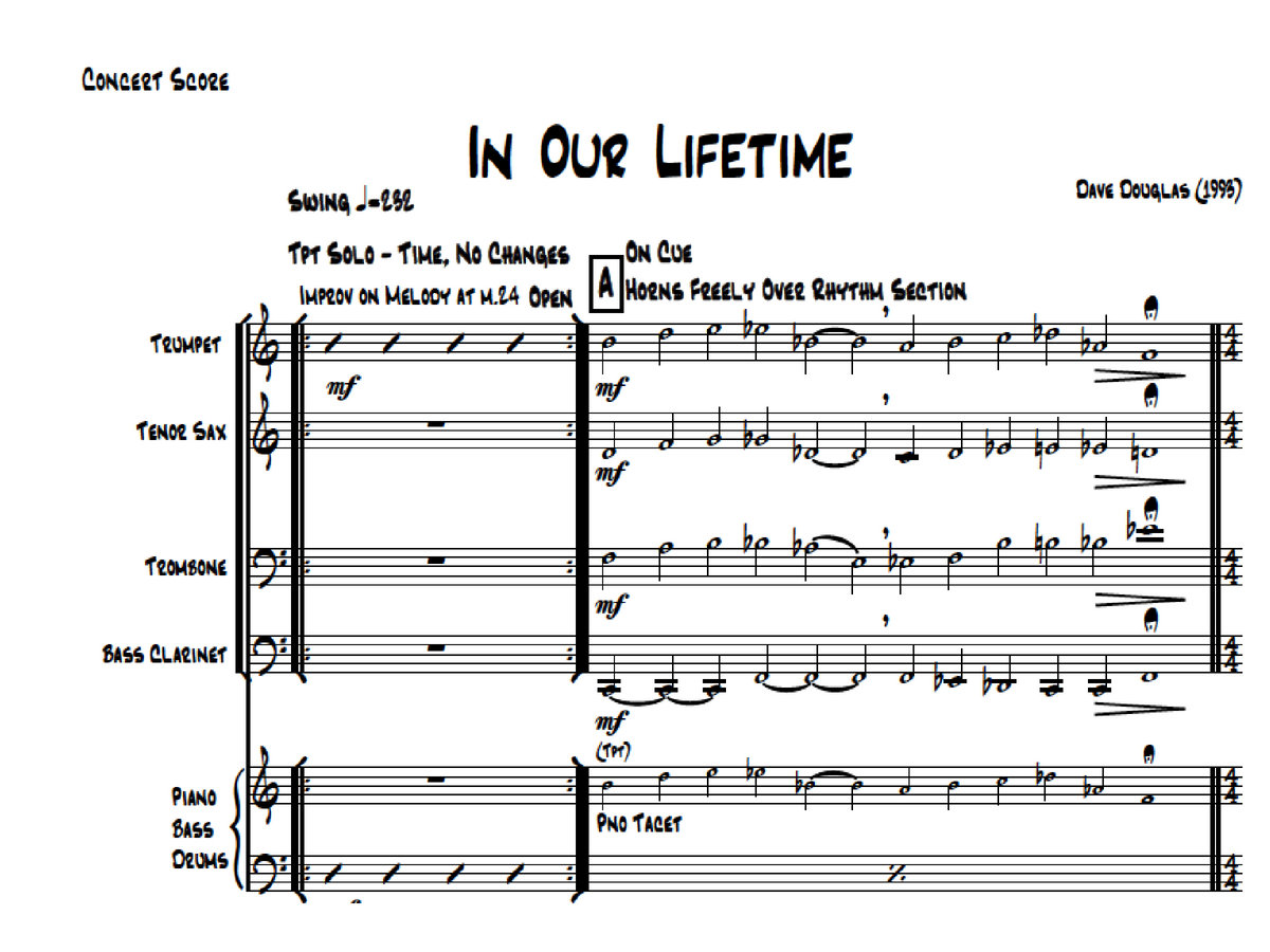 Dave Douglas In Our Lifetime Scores Parts Pdf Sheet Music Piano Diagram Photo