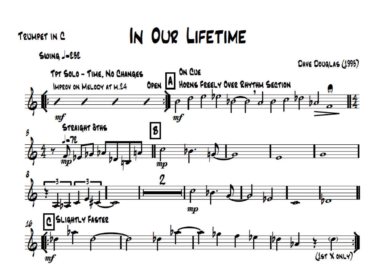 Dave Douglas   In Our Lifetime   Scores & Parts (PDF