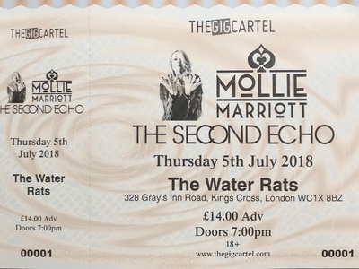 Ticket: The Second Echo support Mollie Marriott, 5th July 2018, The Water Rats, London WC1X 8BZ main photo