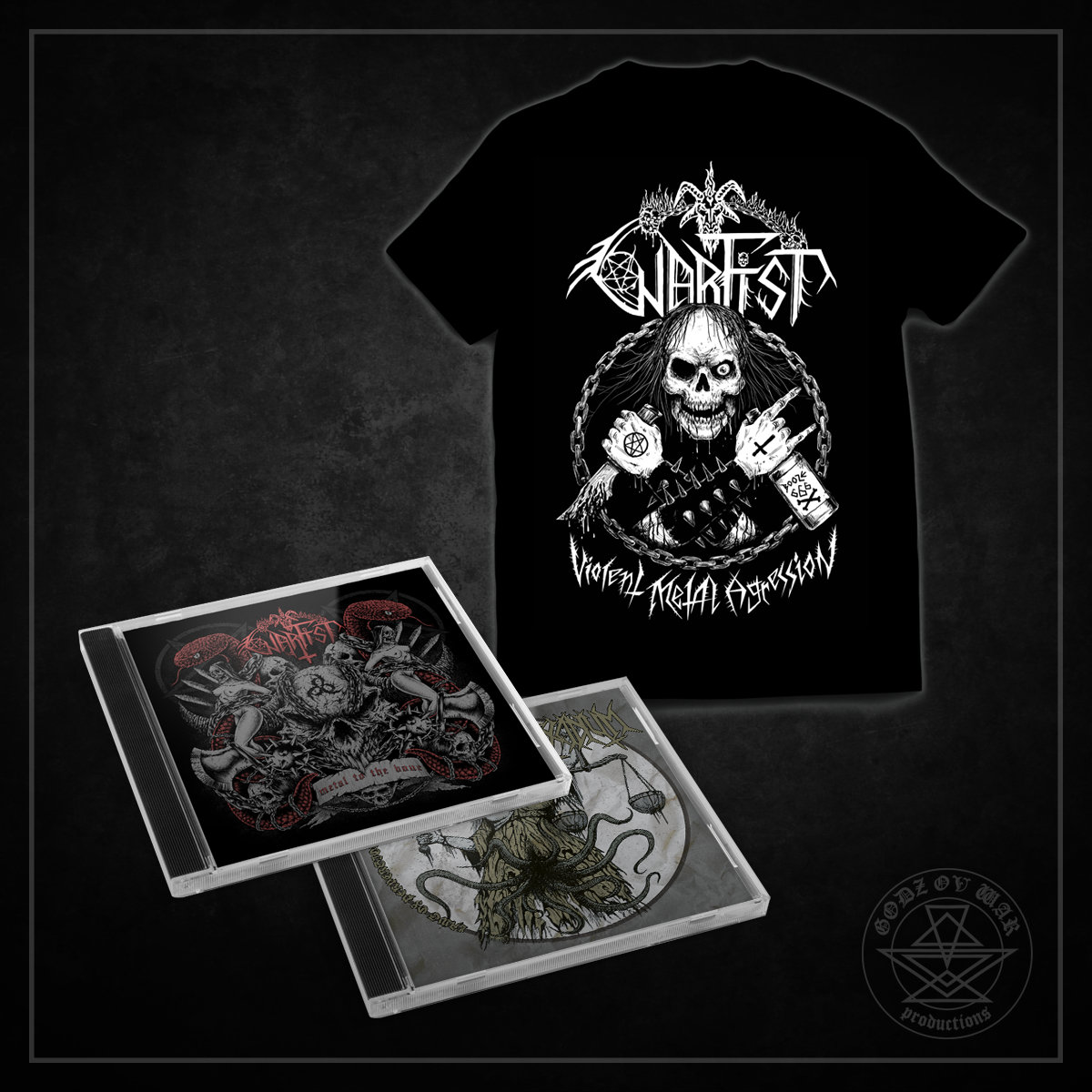 5e976103a Bundle includes both WARFIST releases - Metal to the Bone (jewel case),  Laws of Perversion & Filth split with EXCIDIUM (jewel case) & T-shirt.