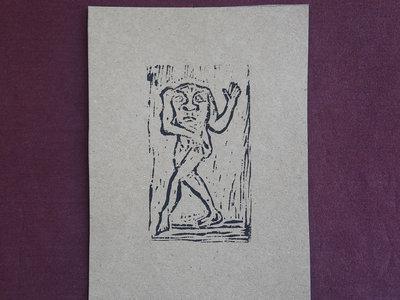 Blemmyae 1 - handmade lino print w/ B&B1 download main photo
