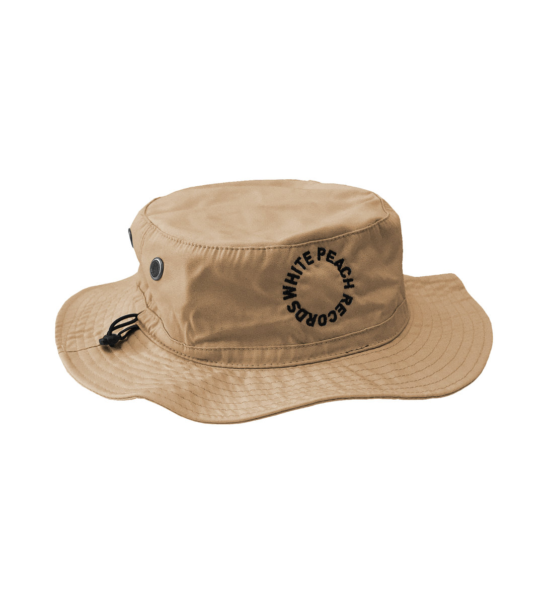 Wpt012 Stone Bucket Hat W Black Embroidery White Peach