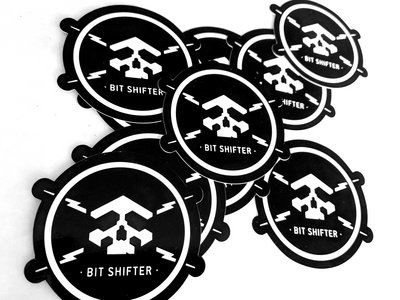 Bit Shifter vinyl sticker • skull & electrical bolts emblem (2 per order) main photo