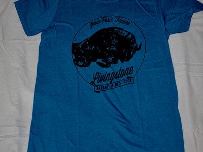 "T-shirt ""Black Buffalo"" bleu - Homme main photo"