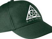 RAVE OR DIE cap - FOREST GREEN with white logo photo