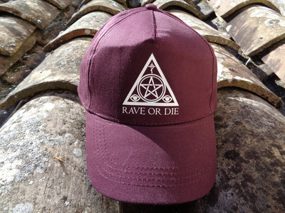 RAVE OR DIE cap - BURGUNDY with white logo main photo