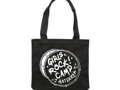 Girls Rock! Aotearoa black tote bag main photo