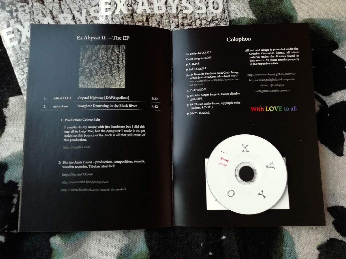 """28-page A5 full-colour zine, with the EP on 3"""" CDr. Includes unlimited  streaming of Ex Abyssō II via the free Bandcamp app, plus high-quality  download in ..."""