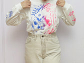 BLUE FADE TO PINK ON WHITE LONG SLEEVE photo