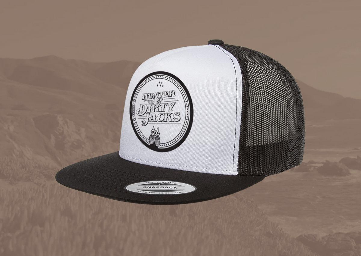 e257cea5 Owl Logo Trucker Hat - White/Black   Hunter & The Dirty Jacks
